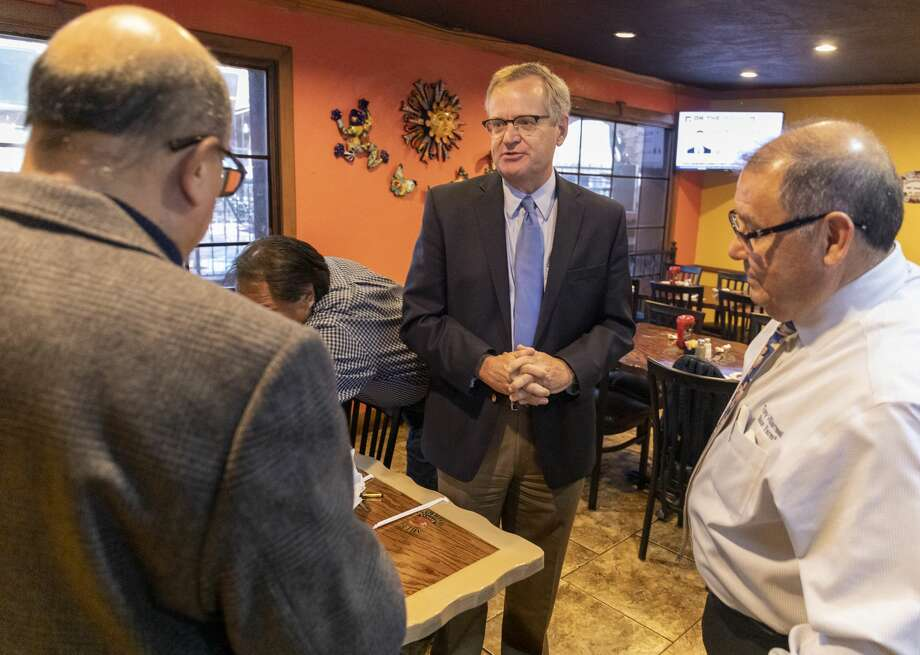 Democrat Jon Mark Hoggs, for congressional district 11, made a campaign stop Thursday at AjuuaÕs Mexican Restaurant. Jacy Lewis/Reporter-Telegram Photo: Jacy Lewis/Reporter-Telegram