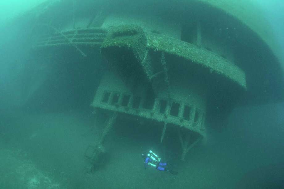 A diver explores the wreck of the Cedarville (Courtesy Photo/Jitka Hanakova)