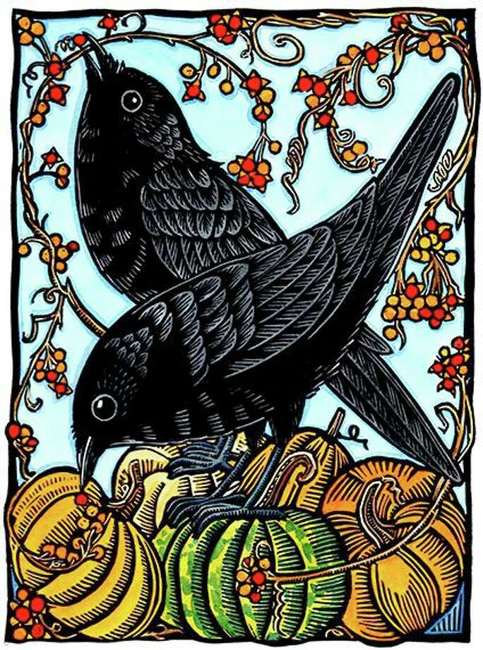 """Crows & Bittersweet,"" by Andrea Wisnewski (hand-colored print). Photo: WCSU / Contributed Photo"