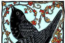 """""""Crows & Bittersweet,"""" by Andrea Wisnewski (hand-colored print)."""
