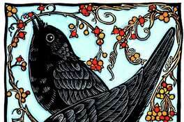 """Crows & Bittersweet,"" by Andrea Wisnewski (hand-colored print)."