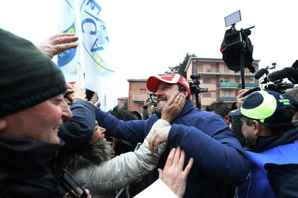 Matteo Salvini during a campaign rally in Maranello, Italy.