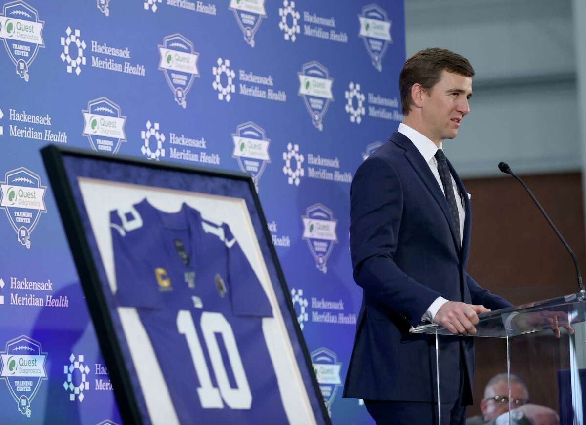 EAST RUTHERFORD, NEW JERSEY - JANUARY 24: Eli Manning of the New York Giants announces his retirement during a press conference on January 24, 2020 at Quest Diagnostic Training Center in East Rutherford, New Jersey.The two time Super Bowl MVP is retiring after 16 seasons with the team.