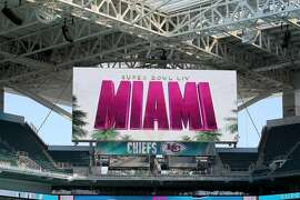 Hard Rock Stadium Stadium in Miami Gardens, Fla., is readied on Tuesday, Jan. 21, 2020, in anticipation of Super Bowl LIV, featuring the Kansas City Chiefs against the San Francisco 49ers on February 2, 2020. (Mike Stocker/Sun Sentinel/TNS)