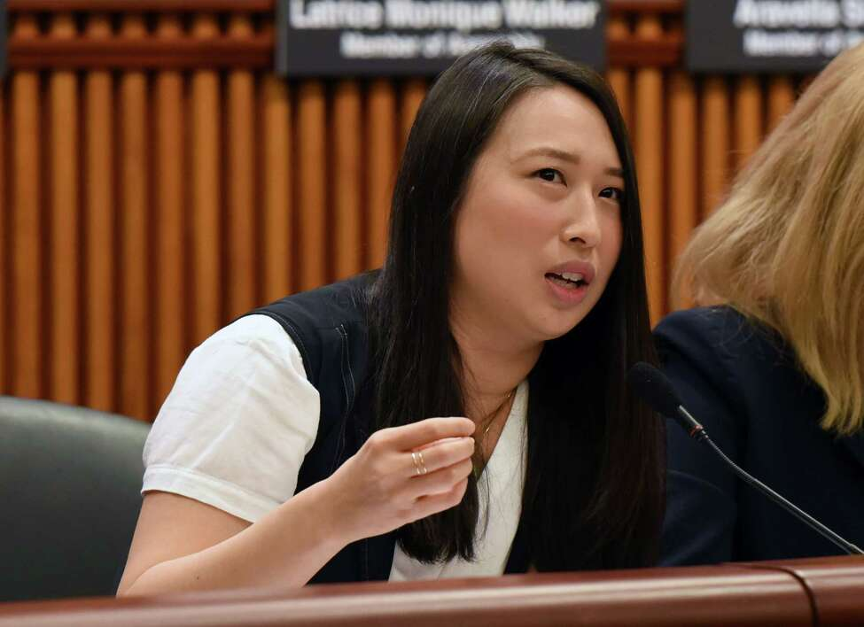 Assemblymember Yuh-Line Niou asks NYS Department of Labor Commissioner Roberta Reardon a question during a joint public hearing on sexual harassment in the workplace on Wednesday, Feb. 13, 2019, at the Legislative Office Building in Albany, NY. (Phoebe Sheehan/Times Union)