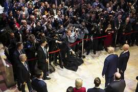 President Donald Trump talks with reporters falling his speech at the World Economic Forum, Tuesday, Jan. 21, 2020, in Davos, Switzerland. (AP Photo/ Evan Vucci)