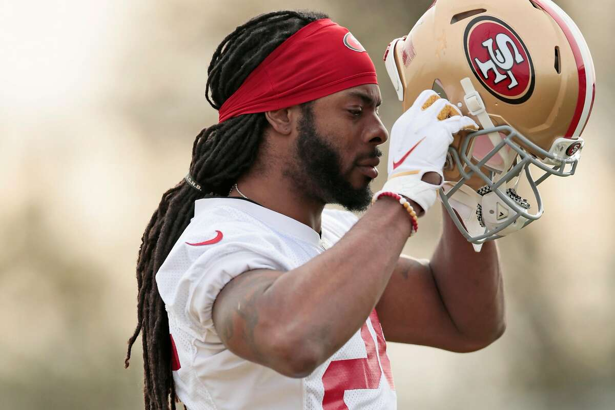 San Francisco 49ers cornerback Richard Sherman (25) puts his helmet on for practice at the 49ers training facility next to Levi�s Stadium, Wednesday, Jan. 15, 2020, in Santa Clara, Calif. The 49ers will play the Green Bay Packers in the NFC Championship Game on Sunday.