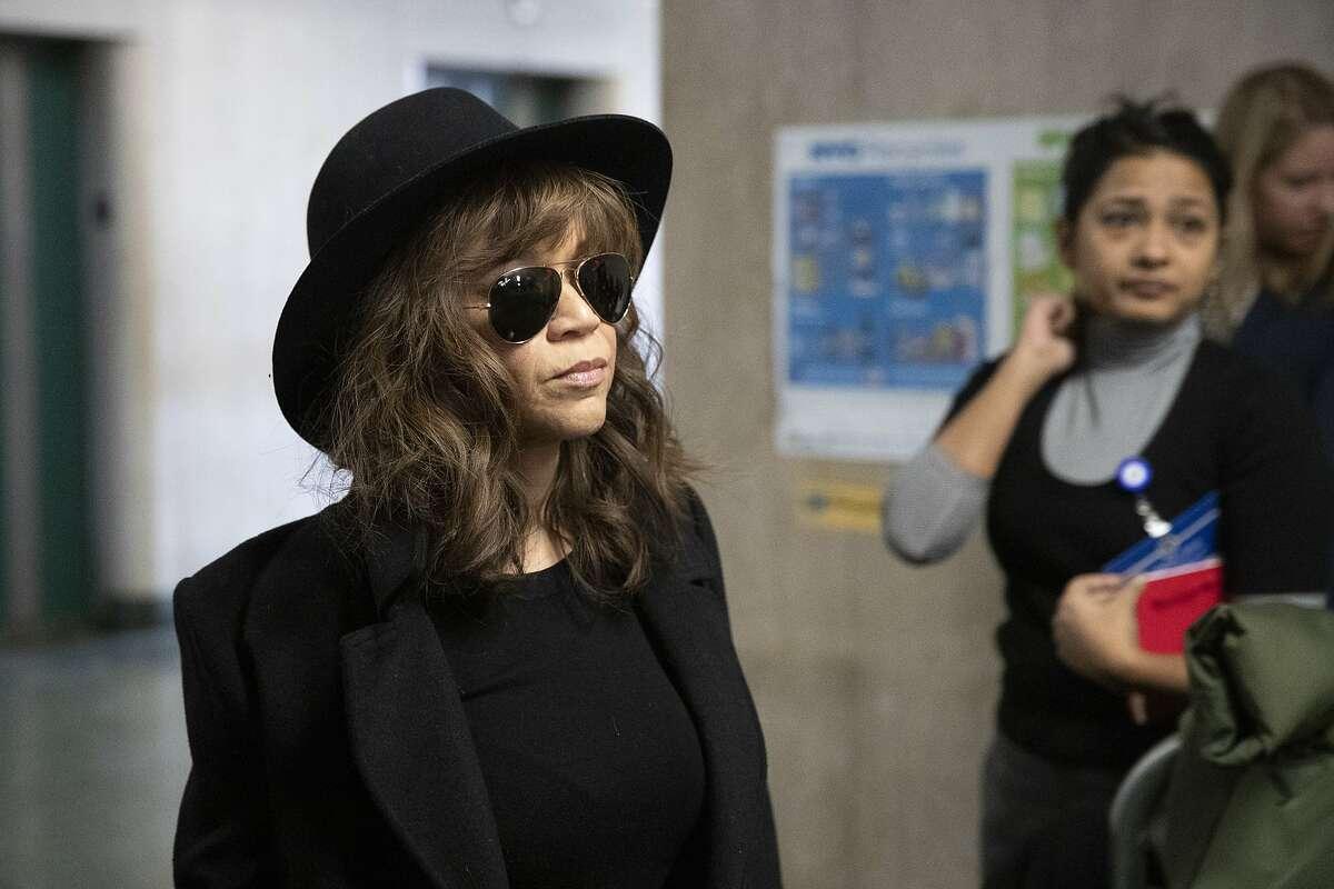 Actress Rosie Perez arrives for Harvey Weinstein's rape trial, Friday, Jan. 24, 2020 in New York.