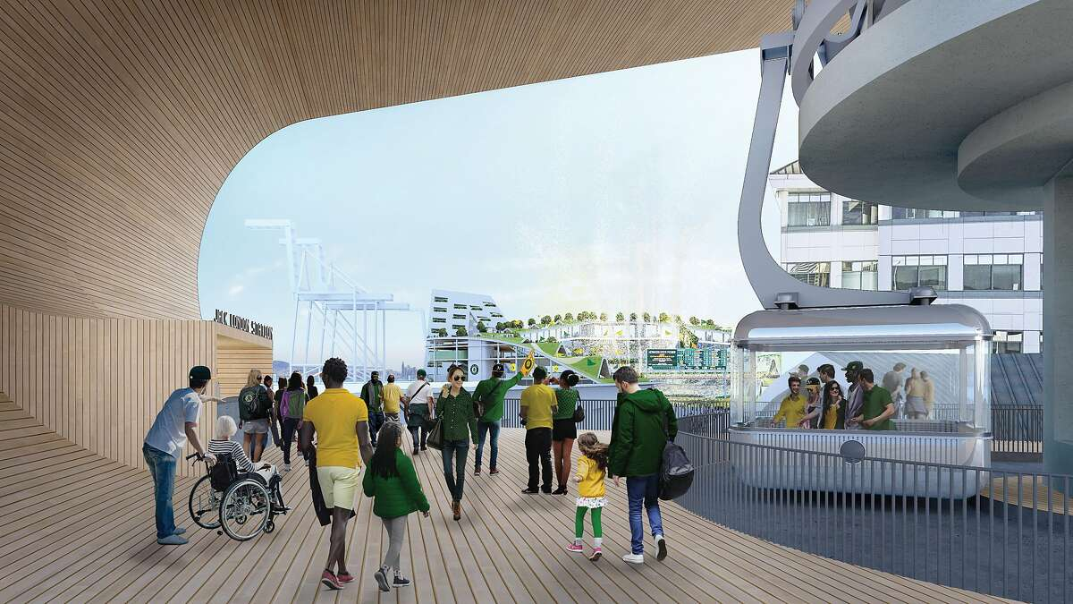 The Oakland A's unveiled plans for a gondola to run from BART to their proposed Howard Terminal site, including a tower above Washington Street.