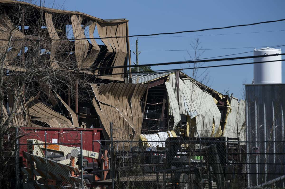 Damaged buildings near a chemical explosion Friday, Jan. 24, 2020, in Houston. Houston Fire Chief Peña said an explosion happened around 4:30 a.m. at the warehouse of Watson Grinding & Manufacturing Co. on the 4500 block of Gessner Road.