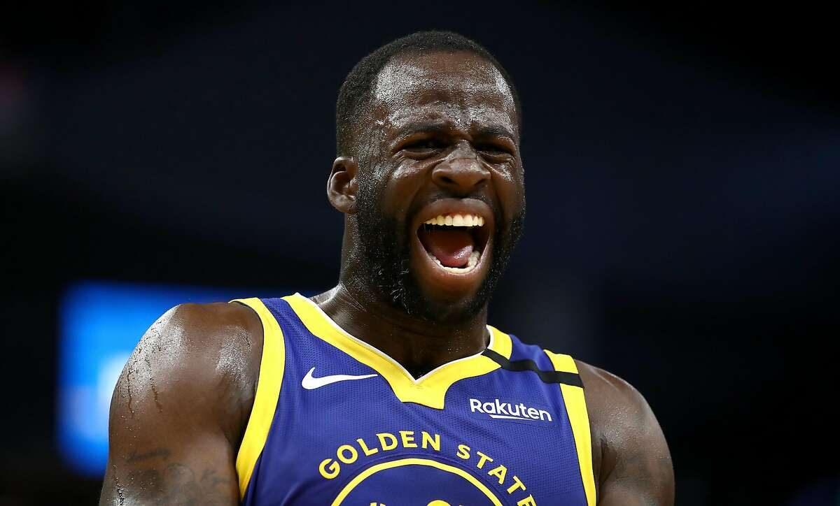 Draymond Green #23 of the Golden State Warriors complains about a call during their game against the Utah Jazz at Chase Center on January 22, 2020 in San Francisco, California.