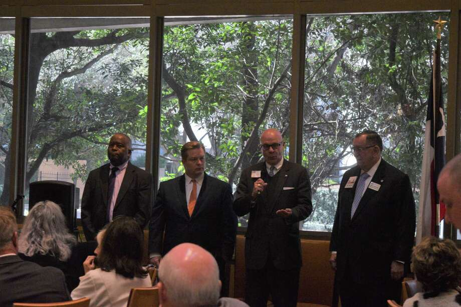 The Greater Houston Pachyderm club hosted (left to right) Levi Benton, Chad Bridges, Terry Adams and James Lombardino, Republican primary candidates running for Justice of the First Court of Appeals in Houston, Place 5 during their lunch meeting on Jan. 21 at Tony's. Photo: Chevall Pryce