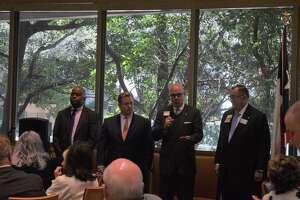 The Greater Houston Pachyderm club hosted (left to right) Levi Benton, Chad Bridges, Terry Adams and James Lombardino, Republican primary candidates running for Justice of the First Court of Appeals in Houston, Place 5 during their lunch meeting on Jan. 21 at Tony's.