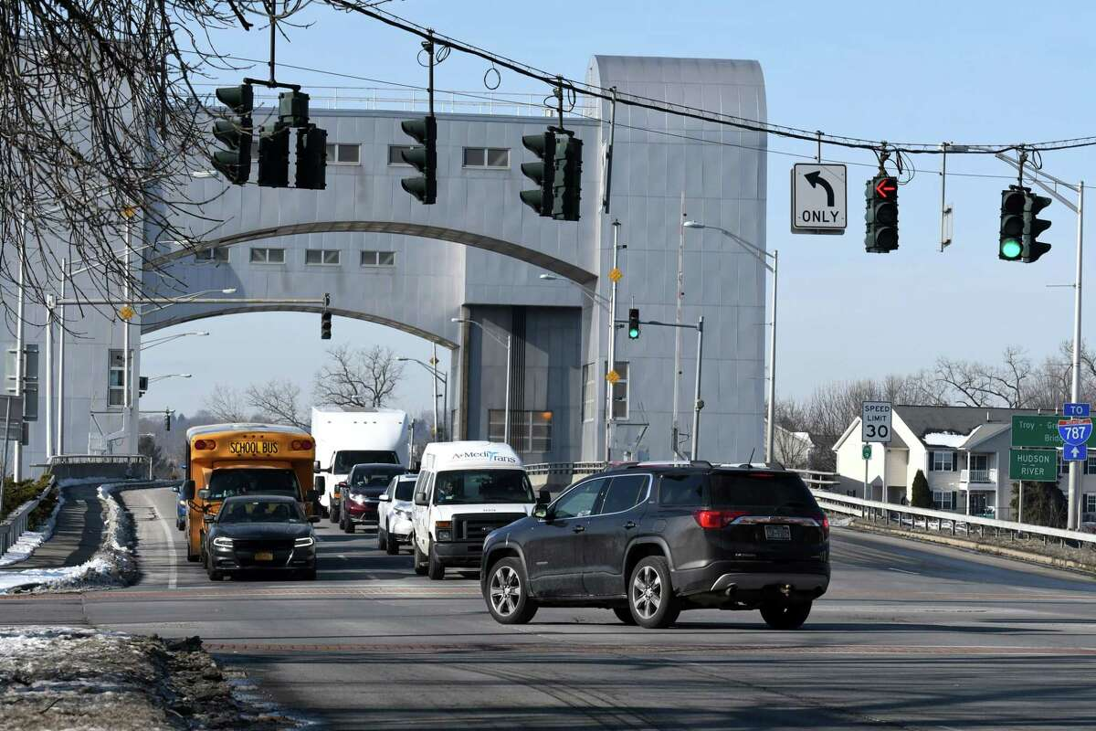 Intersection of Federal, River and King streets at Green Island Bridge on Friday, Jan. 24, 2020, in Troy, N.Y. The city is considering a plan that would replace this intersection with a roundabout. (Will Waldron/Times Union)