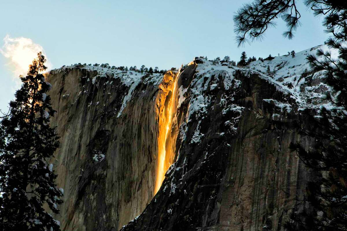 A view of the firefall at Yosemite National Park. Visitors hoping to witness the spectacle this year will need to reserve one of the park's day passes, which go on sale Monday.