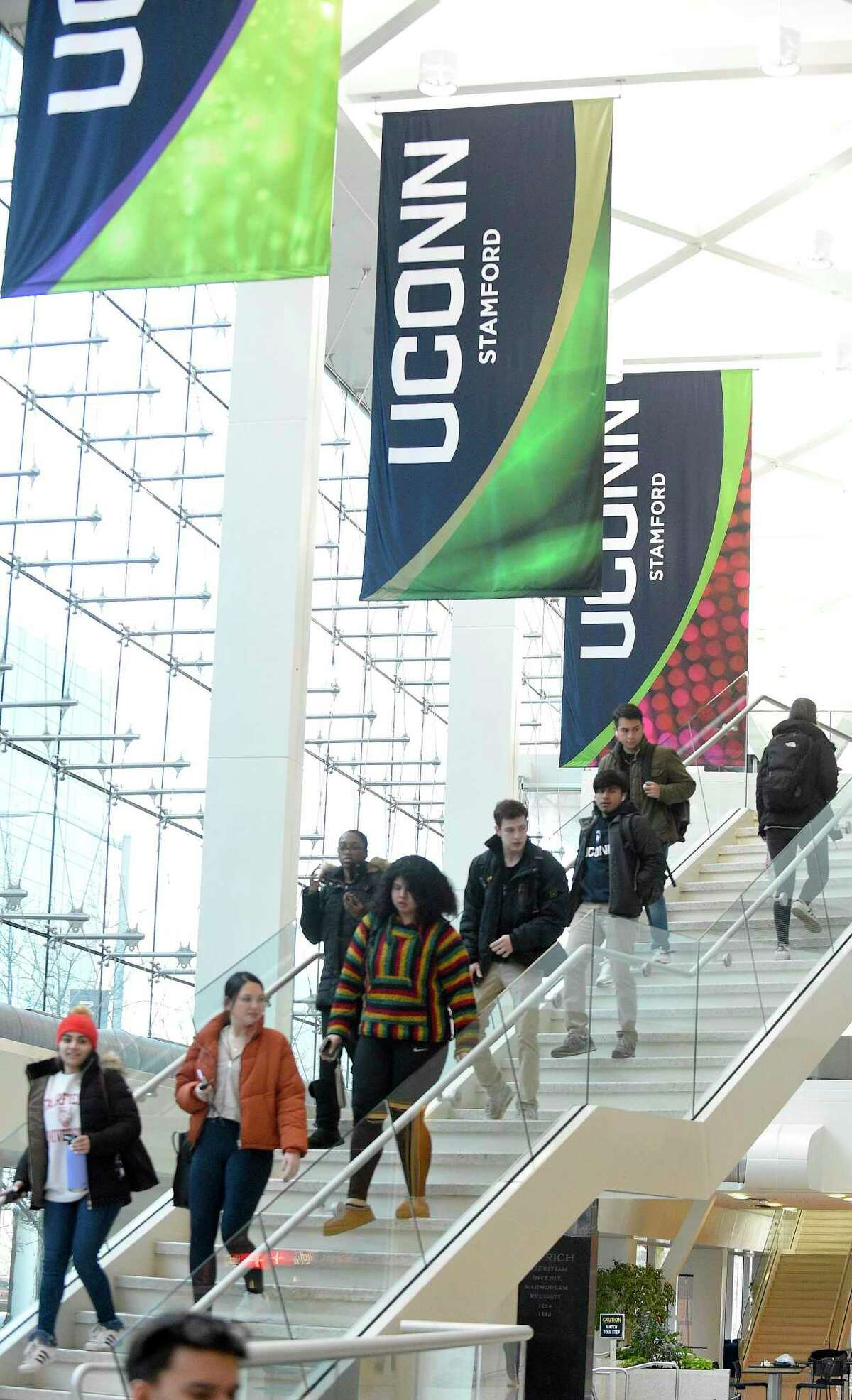 UCONN Stamford students make their way between classes on Jan. 24, 2020 at the campus in Stamford, Connecticut.