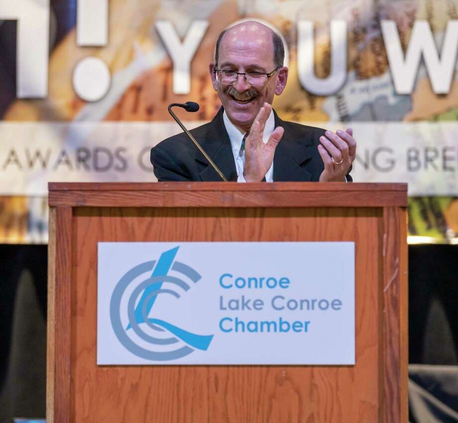 Chamber President Brian Bondy speaks at the podium during the annual Conroe/Lake Conroe Chamber of Commerce's chairman's ball at Lone Star Convention Center in Conroe, Thursday, Jan. 23, 2020. Bondy has been president of the chamber since 2016. Photo: Gustavo Huerta, Houston Chronicle / Staff Photographer / Houston Chronicle © 2020