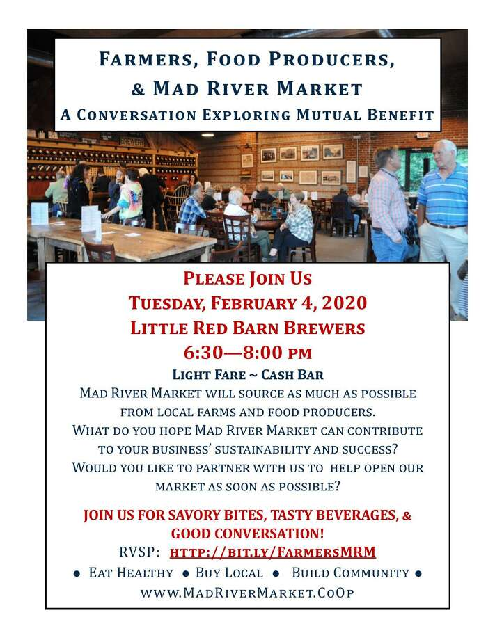 The Mad River Market food co-op is holding a public conversation with local farmers at Little Red Barn Brewers on Feb. 5. Photo: Mad River Market / Contributed Photo
