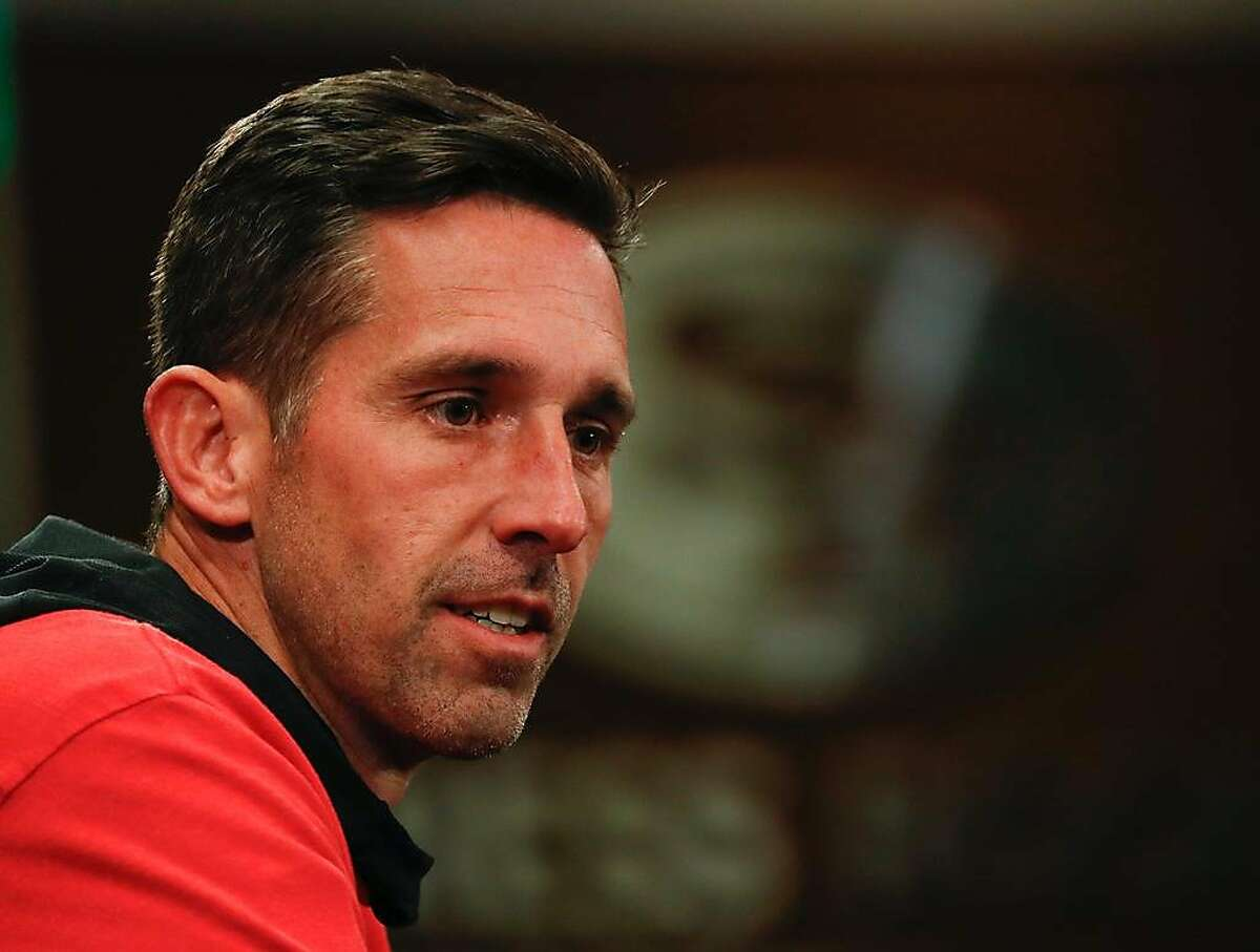 49ers head coach Kyle Shanahan addresses the media after practice at 49ers headquarters on Friday, Jan. 24, 2020 in Santa Clara, Calif.