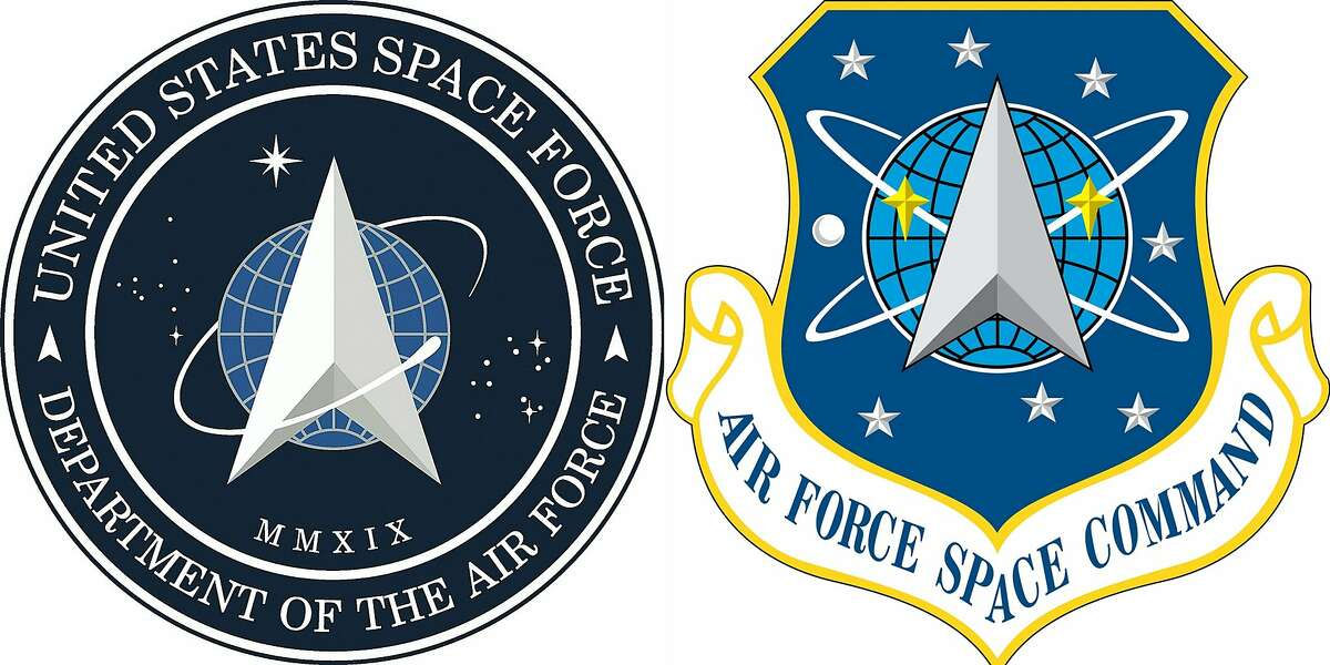 """(COMBO) This combination of pictures created on January 24, 2020, and courtesy US Air Force show the new logo (L) for the United States Space Force, founded December 20, 2019, which was revealed by US President Donald Trump on January 24, 2020, and the logo for the Air Force Space Command, active from September 1982 to December 2019. - Over the years, Star Trek has been responsible for inspiring real world innovations from tablet computers to needleless injection devices and real time translators.Now, the science fiction franchise appears to have influenced Space Force, the US military's newest branch, in its choice of logo: a symbol resembling an arrowhead ringed by an orbiting object and set against a starry backdrop. (Photos by HO / US AIR FORCE / AFP) / RESTRICTED TO EDITORIAL USE - MANDATORY CREDIT """"AFP PHOTO / US AIR FORCE"""" - NO MARKETING - NO ADVERTISING CAMPAIGNS - DISTRIBUTED AS A SERVICE TO CLIENTS (Photo by HO/US AIR FORCE/AFP via Getty Images)"""