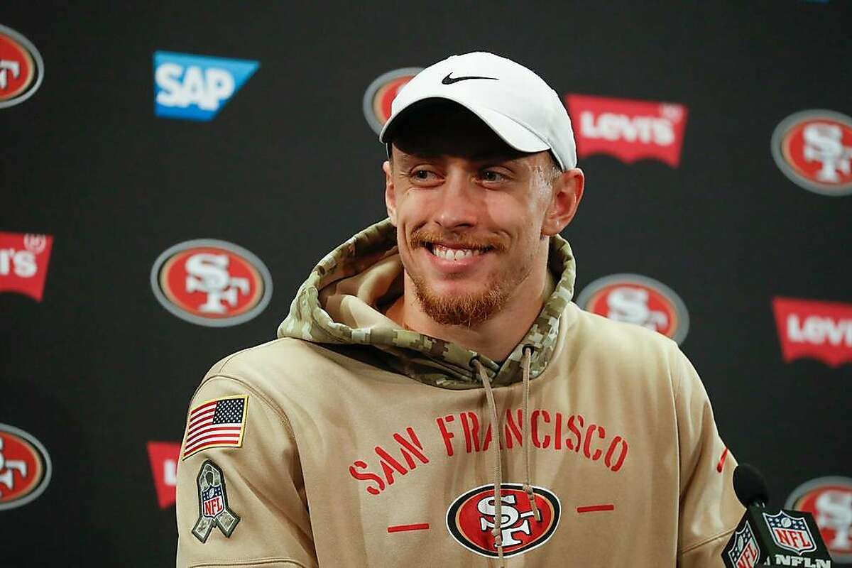 49ers' George Kittle addresses the media practice at 49ers headquarters on Friday, Jan. 24, 2020 in Santa Clara, Calif.