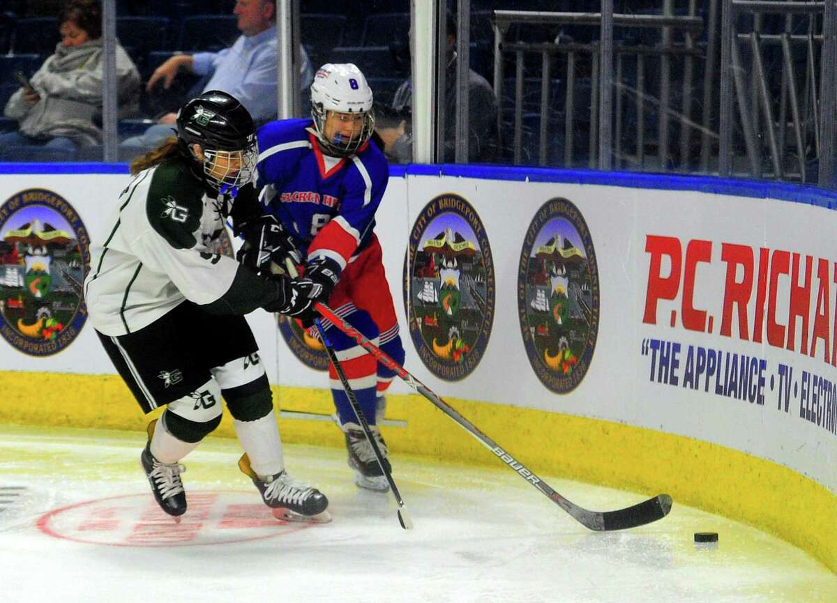 Connecticut Ice Tournament action between Guilford and West Haven-Sacred Heart Academy at the Webster Bank Arena in Bridgeport, Conn., on Jan. 24, 2020.