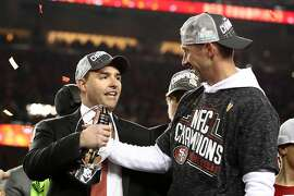 SANTA CLARA, CALIFORNIA - JANUARY 19: Jed York, CEO of the San Francisco 49ers celebrates celebrates with head coach Kyle Shanahan after winning the NFC Championship game against the Green Bay Packers at Levi's Stadium on January 19, 2020 in Santa Clara, California. The 49ers beat the Packers 37-20. (Photo by Ezra Shaw/Getty Images)