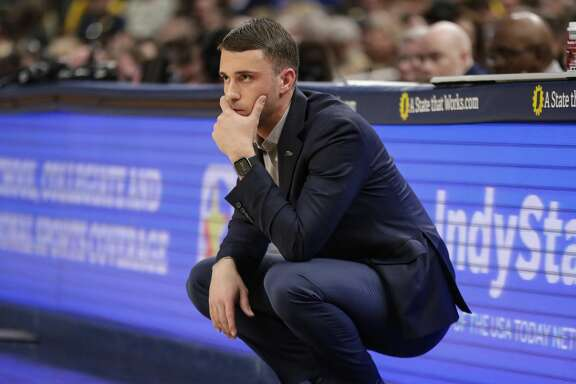Minnesota Timberwolves head coach Ryan Saunders during the second half of an NBA basketball game against the Indiana Pacers in Indianapolis, Friday, Jan. 17, 2020. The Pacers defeated the Minnesota Timberwolves 116-114. (AP Photo/Michael Conroy)
