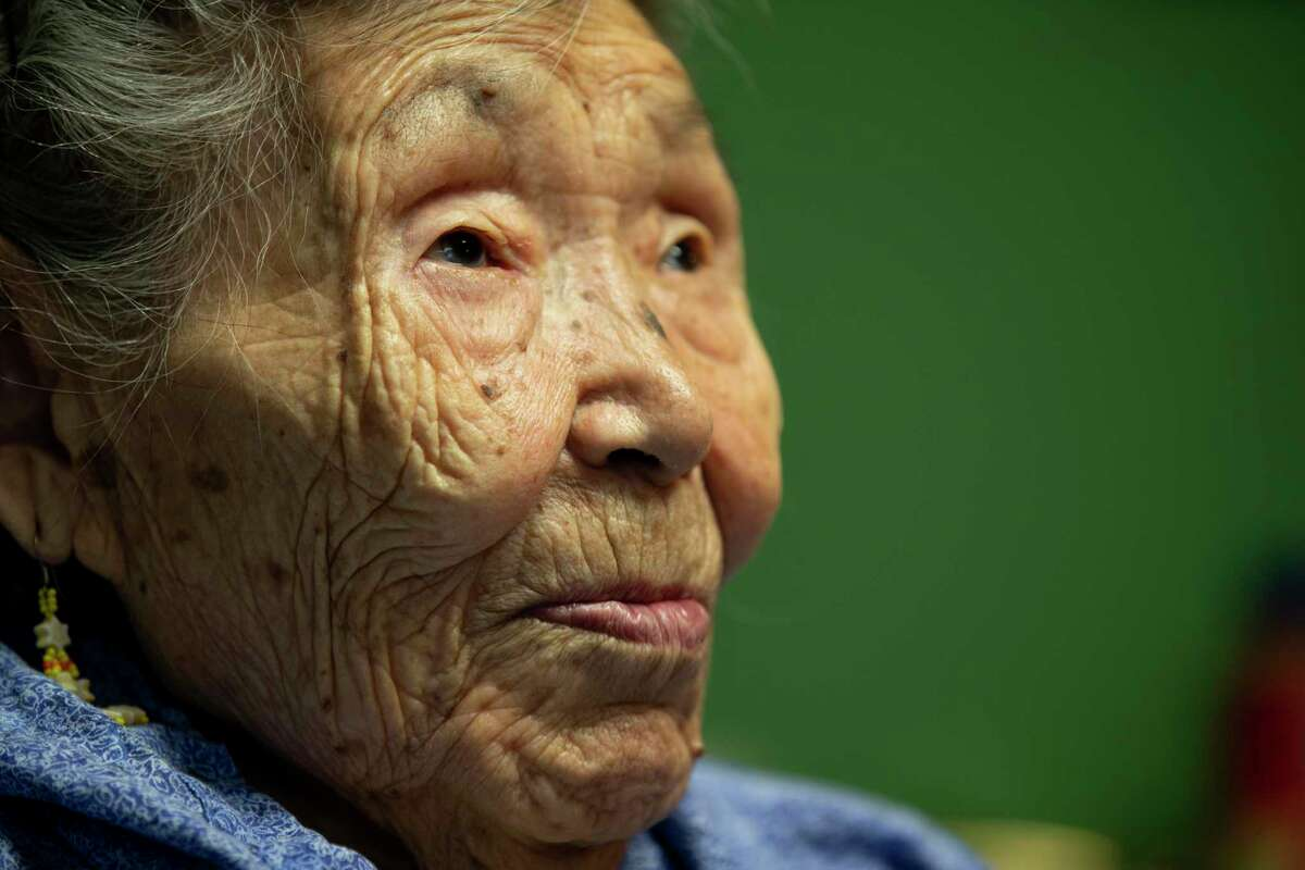 Toksook Bay's Lizzie Chimiugak, 90, was to be the first person counted.