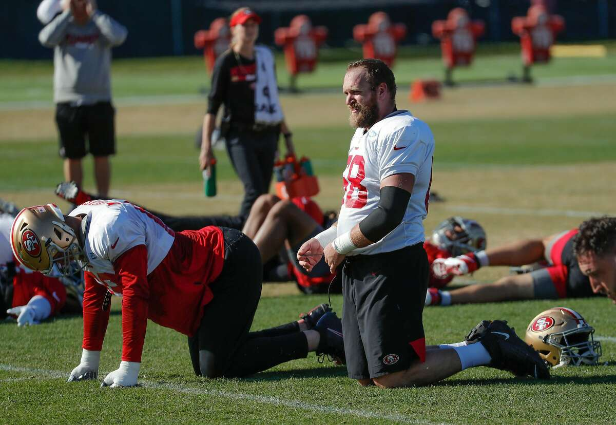 49ers' Mike Person (68) warms up during practice at 49ers headquarters on Friday, Jan. 24, 2020 in Santa Clara, Calif.