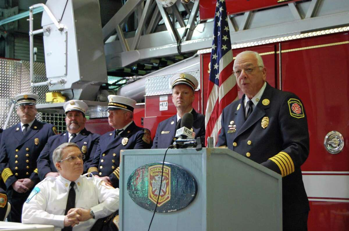 An undated file photo of Stratford Fire Chief Robert McGrath, surrounded by other local chiefs and marshals.