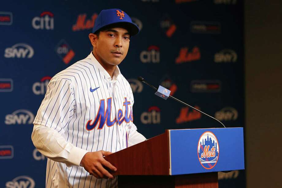 NEW YORK, NY - JANUARY 24: Luis Rojas speaks after being introduced as the new manager of the New York Mets at Citi Field on January 24, 2020 in New York City. Rojas had been the Mets quality control coach and was tapped as a replacement after the newly hired Carlos BeltrA!n was implicated for his role as a player in 2017 in the Houston Astros sign-stealing scandal. (Photo by Rich Schultz/Getty Images) (Photo by Rich Schultz/Getty Images) Photo: Rich Schultz / 2020 Getty Images