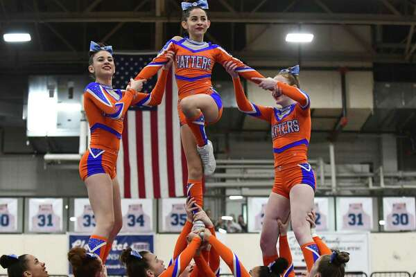 The Danbury High School Varsity Cheerleading Squad competes in the 22nd annual FCIAC cheerleading championships Saturday, February 2, 2019, at Wilton High School in Wilton, Conn.