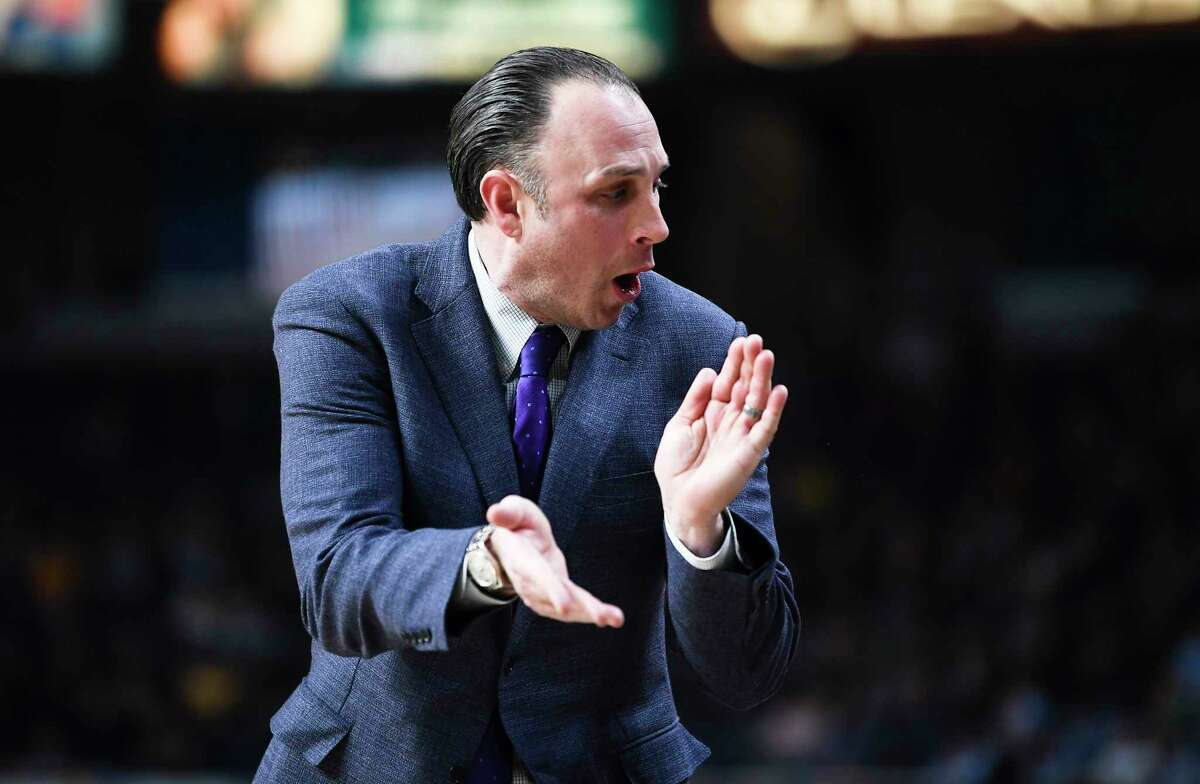 Siena head coach Carmen Maciariello reacts to a call against Marist during the first half of an NCAA basketball game Friday, Jan. 24, 2020, in Albany, N.Y. (Hans Pennink / Special to the Times Union) ORG XMIT: 012520_siena_HP107