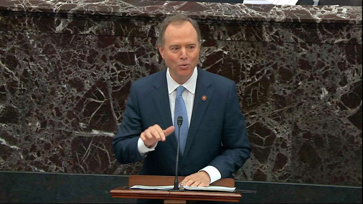 In this image from video, House impeachment manager Rep. Adam Schiff, D-Calif., speaks during the impeachment trial against President Donald Trump in the Senate at the U.S. Capitol in Washington, Friday, Jan. 24, 2020. (Senate Television via AP)