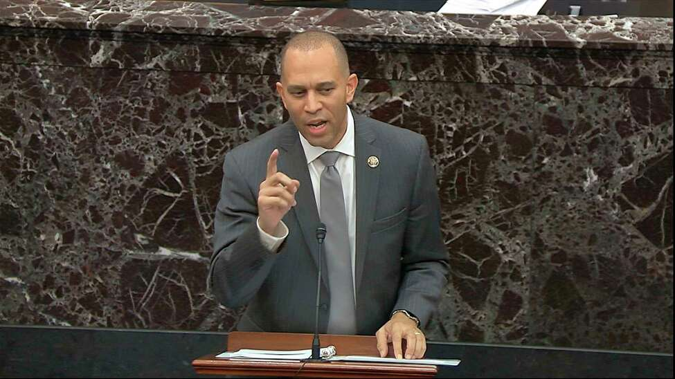 In this image from video, House impeachment manager Rep. Hakeem Jeffries, D-N.Y., speaks during the impeachment trial against President Donald Trump in the Senate at the U.S. Capitol in Washington, Friday, Jan. 24, 2020. (Senate Television via AP)