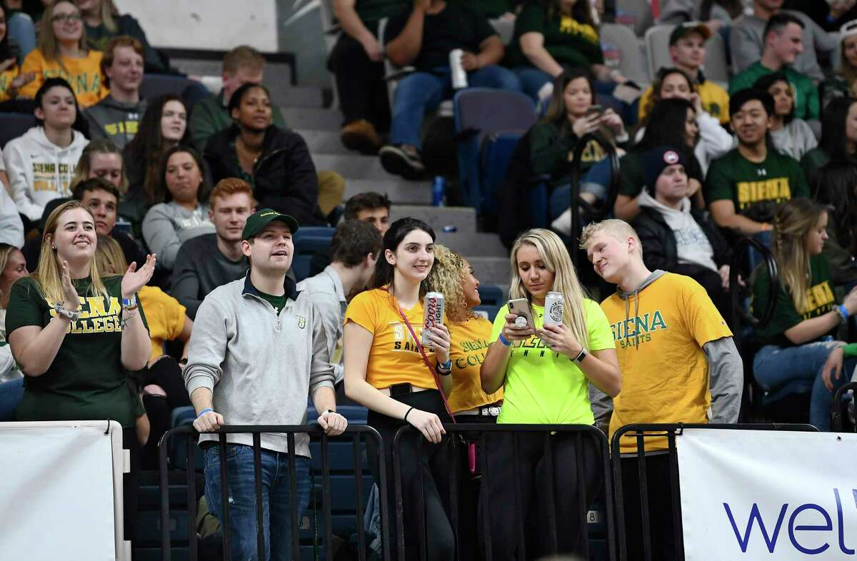 Fans watch Siena play Marist during the second half of an NCAA basketball game Friday, Jan. 24, 2020, in Albany, N.Y. Siena won 70-57. (Hans Pennink / Special to the Times Union) ORG XMIT: 012520_siena_HP113