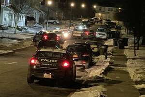 Albany police responded to a call about shots fired on Jennings Drive in Albany, N.Y. on Friday, Jan. 24, 2020. (Robert Gavin/Times Union)