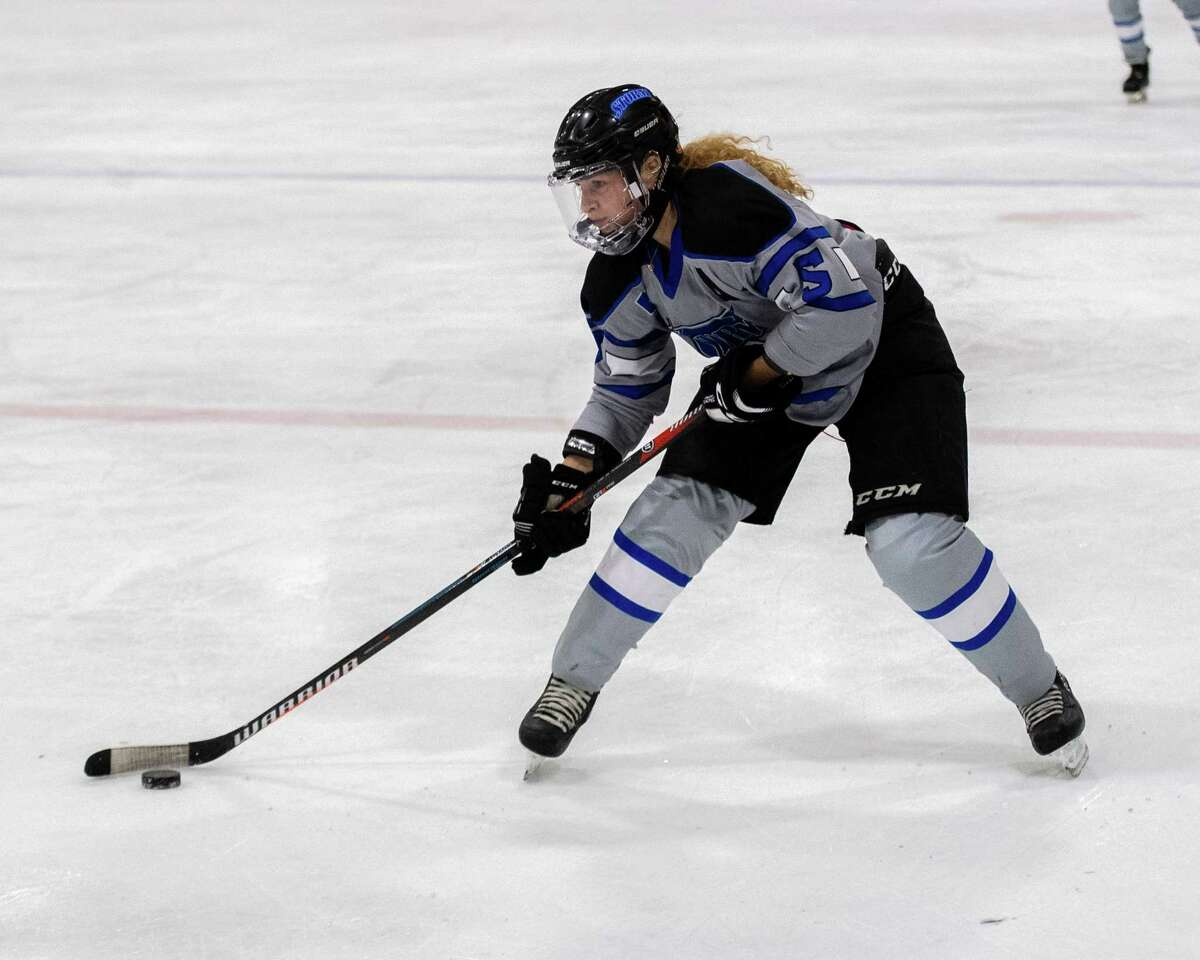 GMSVS Storm senior Maddie LeBel during a Capital District High School Hockey League game against Bethlehem at the Schenectady County Recreational Facility on Friday, Jan. 24, 2019. The rink was reopened in September 2021 after being closed since March 2020 because of the pandemic. (Jim Franco/Special to the times Union.)