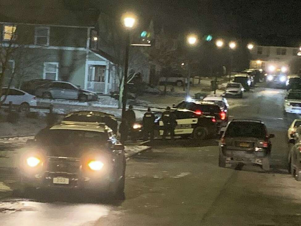 Albany police on the scene of an apparent standoff at 24 Jennings Drive in Albany, N.Y., on Friday, Jan. 24, 2020. (Robert Gavin/Times Union)