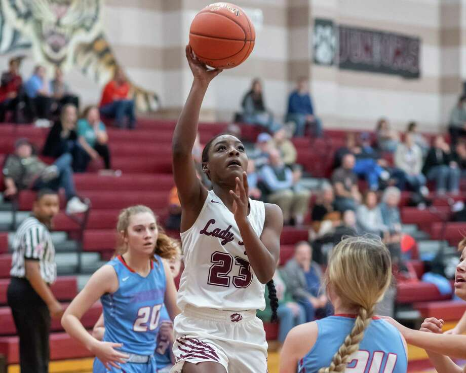 Kaniesha Brydson (23) puts up a shot in the first half as the Lady Tigers of Silsbee defeated the Lady Railders of Lumberton on January 24, 2020. Fran Ruchalski/The Enterprise Photo: Fran Ruchalski/The Enterprise / 2019 The Beaumont Enterprise