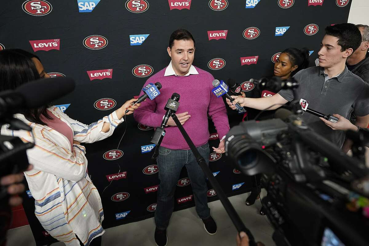San Francisco 49ers owner Jed York speaks to reporters after a practice at the team's NFL football training facility in Santa Clara, Calif., Friday, Jan. 24, 2020. The 49ers will face the Kansas City Chiefs in Super Bowl 54. (AP Photo/Tony Avelar)