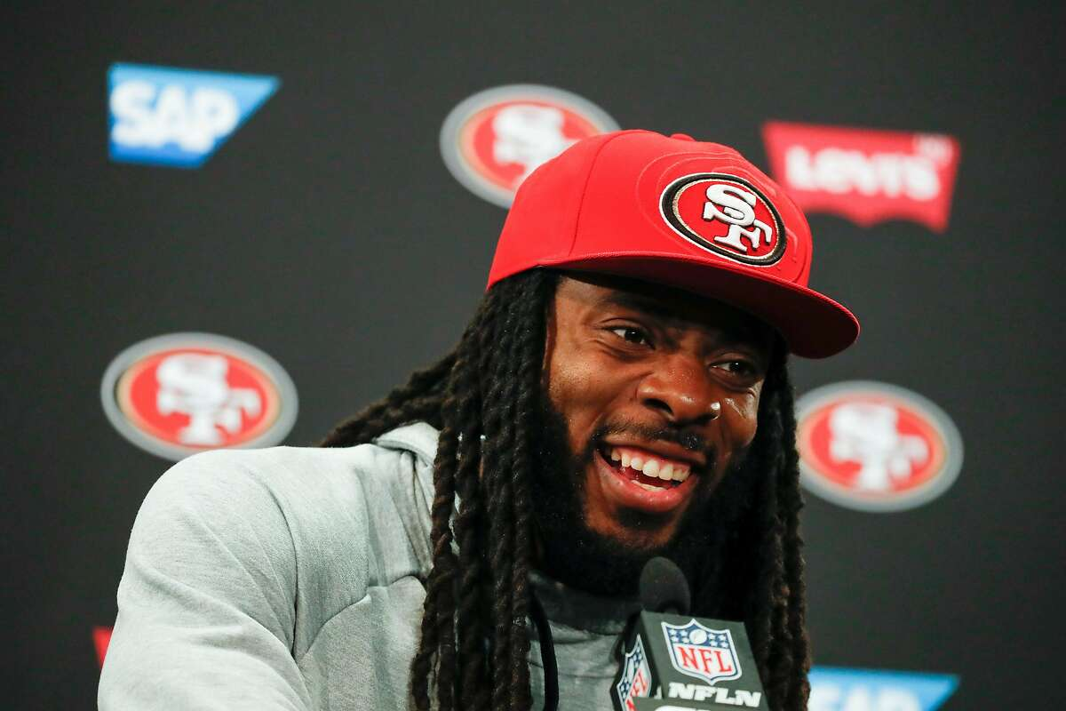 49ers' Richard Sherman addresses the media after practice at 49ers headquarters on Friday, Jan. 24, 2020 in Santa Clara, Calif.
