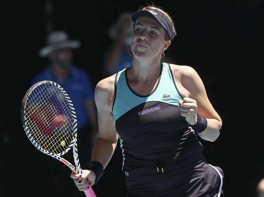 Anastasia Pavlyuchenkova celebrates after defeating Karolina Pliskova in the Australian Open. Photo: Dita Alangkara / Associated Press