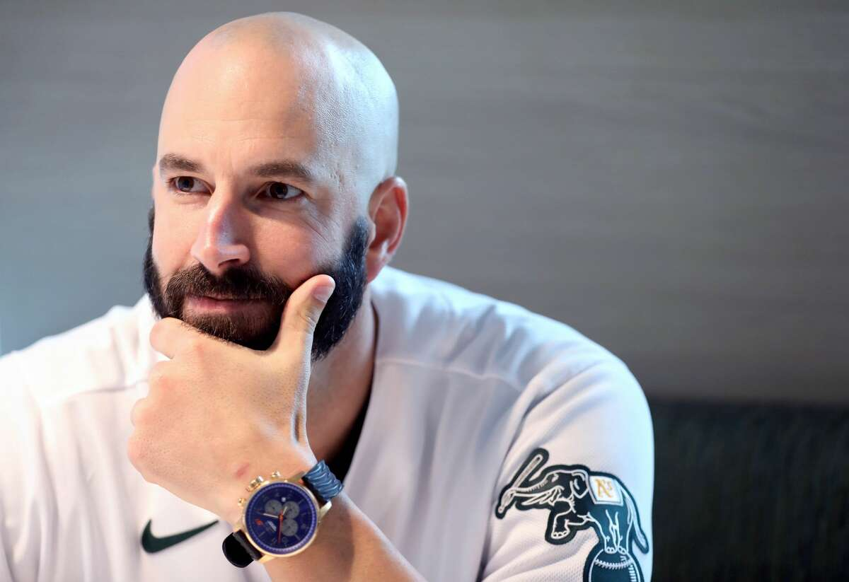 Mike Fiers, pitcher, speaks to the media during the Oakland A's pre-Fan Fest media availability at the A's offices at Jack London Square in Oakland, Calif., on Friday, January 24, 2020. Fiers is the only named whistleblower at the center of the Houston Astros' cheating scandal.