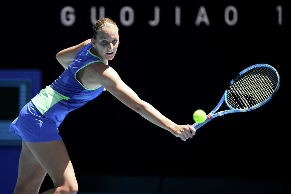 MELBOURNE, AUSTRALIA - JANUARY 25: Karolina Pliskova of Czech Republic plays a backhand during her Women's Singles third round match against Anastasia Pavlyuchenkova of Russia on day six of the 2020 Australian Open at Melbourne Park on January 25, 2020 in Melbourne, Australia. (Photo by Quinn Rooney/Getty Images)