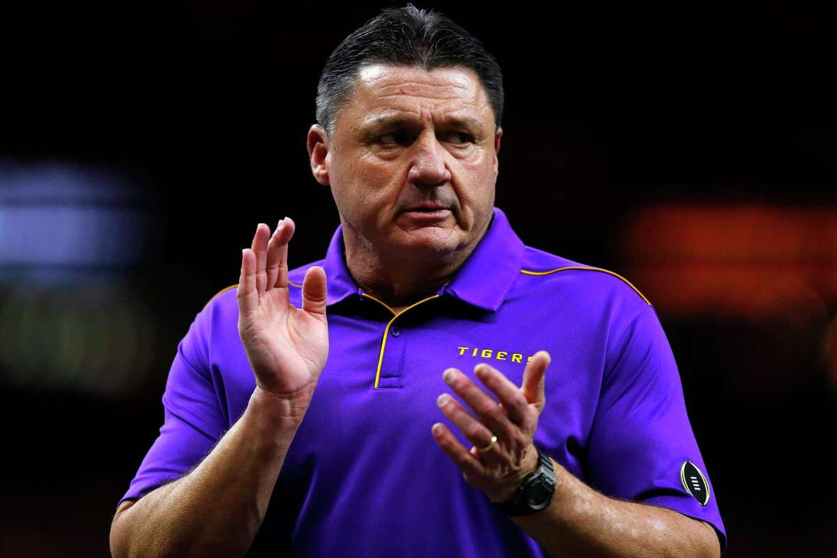 NEW ORLEANS, LOUISIANA - JANUARY 13: Head coach Ed Orgeron of the LSU Tigers claps prior to the College Football Playoff National Championship game against the Clemson Tigers at Mercedes Benz Superdome on January 13, 2020 in New Orleans, Louisiana. (Photo by Jonathan Bachman/Getty Images)
