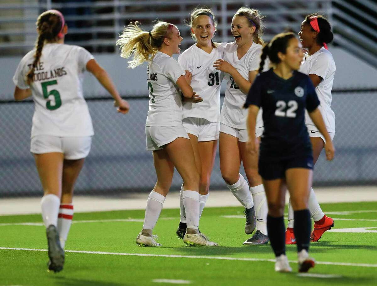 The Woodlands defender Janey Kauppinen (31) reacts after scoring a goal during the first period of a District 15-6A high school soccer match at Woodforest Bank Stadium, Friday, Jan. 24, 2020, in Shenandoah.