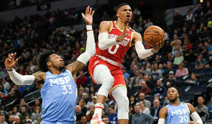 Rockets guard Russell Westbrook scored 15 of his season-high 45 points in the final eight minutes.