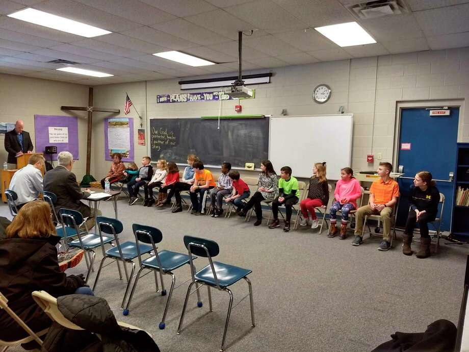 Spellers participate in 2nd Annual CHEMinistry Spelling Bee at Midland Christian School. (Photo provided)
